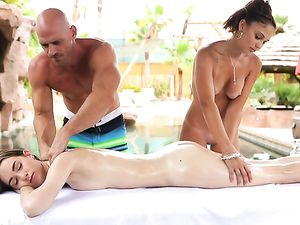 Hottest Massage Threesome Ever With Two Babes Poolside