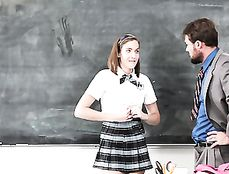 Schoolgirl Shows Her Titties And Sucks On Teacher Dick