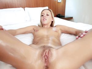 Brown Eyed Teenage Cutie Oiled Up And Fucked