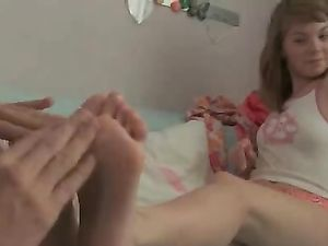 Rubbing Her Teenage Feet And Fucking Her Pussy