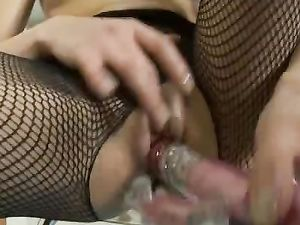 Solo Lingerie Beauty Fucks A Pink Dildo Erotically