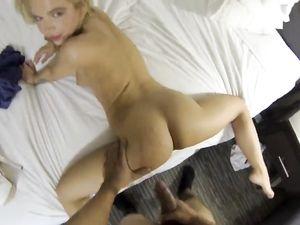 Tiny Blonde Escort Babe Makes Her Client Cum