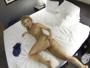 Tiny Blonde Escort Babe Makes Her Client Cum