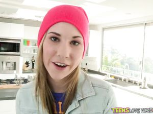 Cute Pink Knit Cap On The Hot Teen Cocksucker