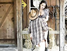 Cowgirl Boots And Denim Shorts On This Farm Fucking Babe