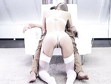 Lingerie Hottie Worships Cock And Sits On It