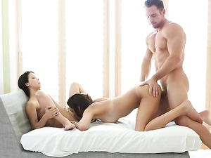 Threeway Pleasures With Amazing Chicks And A Stud