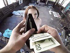 Money Convinces A Slutty Redhead To Fuck In Public