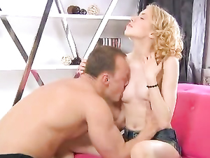 Curly Hair Teen Sits On A Cock In Reverse Cowgirl