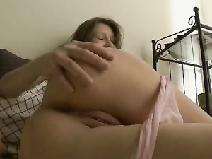 Sheer Panties Come Down As The Girl Masturbates