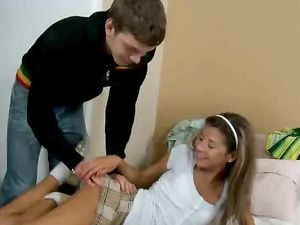 Uncut Dick Gets Hard In Her Talented Teen Mouth