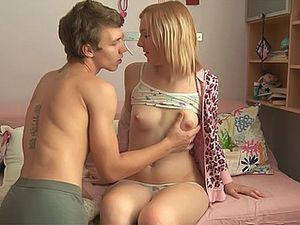 Fucking His Horny Blonde Teen Girlfriend