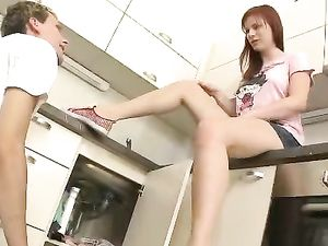 Eager Teen Redhead Is His Hardcore Kitchen Slut