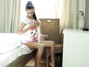 Skinny 18 Year Plays With Her Tiny Titties