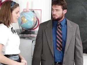 Schoolgirl Shows Her Titties And Sucks On Teacher Dick