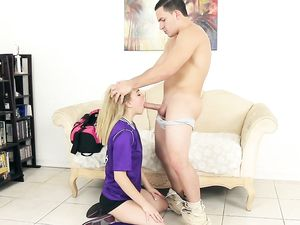 Purple Soccer Jersey On A Blonde Teen Riding Cock