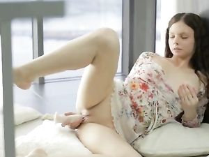 Wet Teen Cunt Lips Open For Sensual Sex Toy Fucking